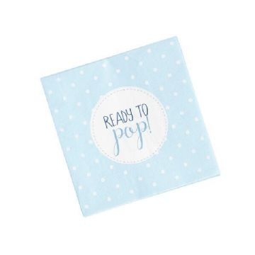 Ready To Pop, Blue Baby Shower Napkins